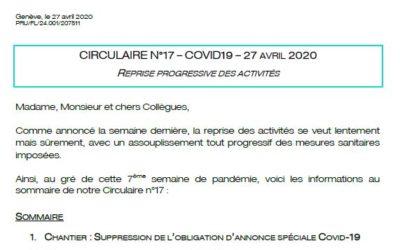 Circulaire n°17 – Reprise progressive des activités – 27 avril 2020